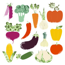 Set Of Hand Drawn Vegetables. Collection Of Ingredients. Vector Illustration.