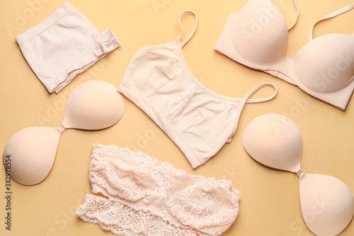 Obraz Stylish female underwear on color background - fototapety do salonu