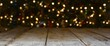 Christmas and New Year background banner with colorful bokeh lights and rustic wood