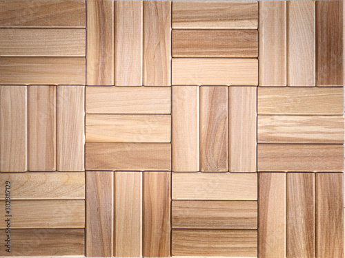 Fototapeta brown background of wooden planks in the form of parquet, top view obraz na płótnie