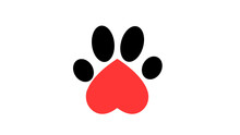 I Love Dog, Cat Concept. Heart, Paw Print And Bone. Pet Care Sign