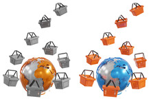 Globe And Shopping Baskets As ...