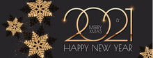 Happy New 2021 Year Elegant Holiday Design Template With Gold Shining Snowflakes