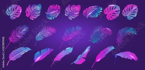 Neon Tropic Leaves Set, Vector Tropical Summer vibrant purple template, Banana, Monstera, Palm Leaf