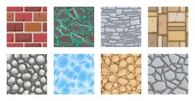 Game Ground Texture For Ui Platform. Seamless Cartoon Pattern Of Brick, Rock, Stone And Soil. Different Land Layer Icon For Game Intarface Vector Illustration.