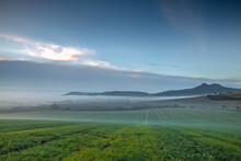 Landscape Covered With Fog In ...