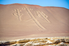 Beautiful Shot Of The Paracas Candelabra Famous Geoglyph In Pisco Bay In Peru
