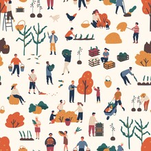 Seamless Pattern With People P...