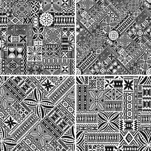 Hawaiian Style Tapa Cloth Motifs Tribal Fabric Vintage Vector Seamless Pattern Collection