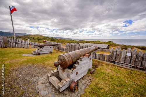Fotografie, Obraz Fuerte Bulnes is a Chilean fort located by the Strait of Magellan, 62 km south of Punta Arenas