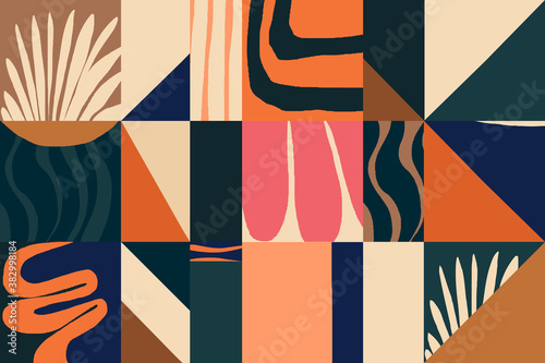 Modern abstract exotic illustration pattern Fotobehang