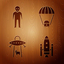 Set Space Shuttle And Rockets, Alien, UFO Abducts Cow And Space Capsule And Parachute On Wooden Background. Vector.