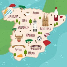 Cartoon Map Of Spain. Travel Illustration With Spanish Landmarks, Buildings, Food And Plants. Funny Tourist Infographics. National Symbols. Famous Attractions. Vector Illustration .