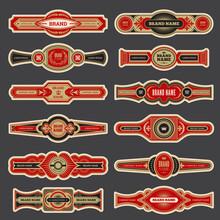 Cigar Labels. Colorful Vintage Banded Badges For Cigar Branding Vector Set. Cigar Smoking Different Logotype, Closeup Label Collection Illustration