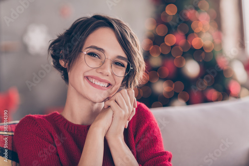 Photo of cute young lady hold hands beaming white smile look camera wear eyewear Wallpaper Mural