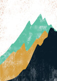Creative minimalist hand painted. Abstract mountain landscape, Natural landscape background. Minimalist design for wall decoration, postcard or brochure design.vector illustration. - 383015752