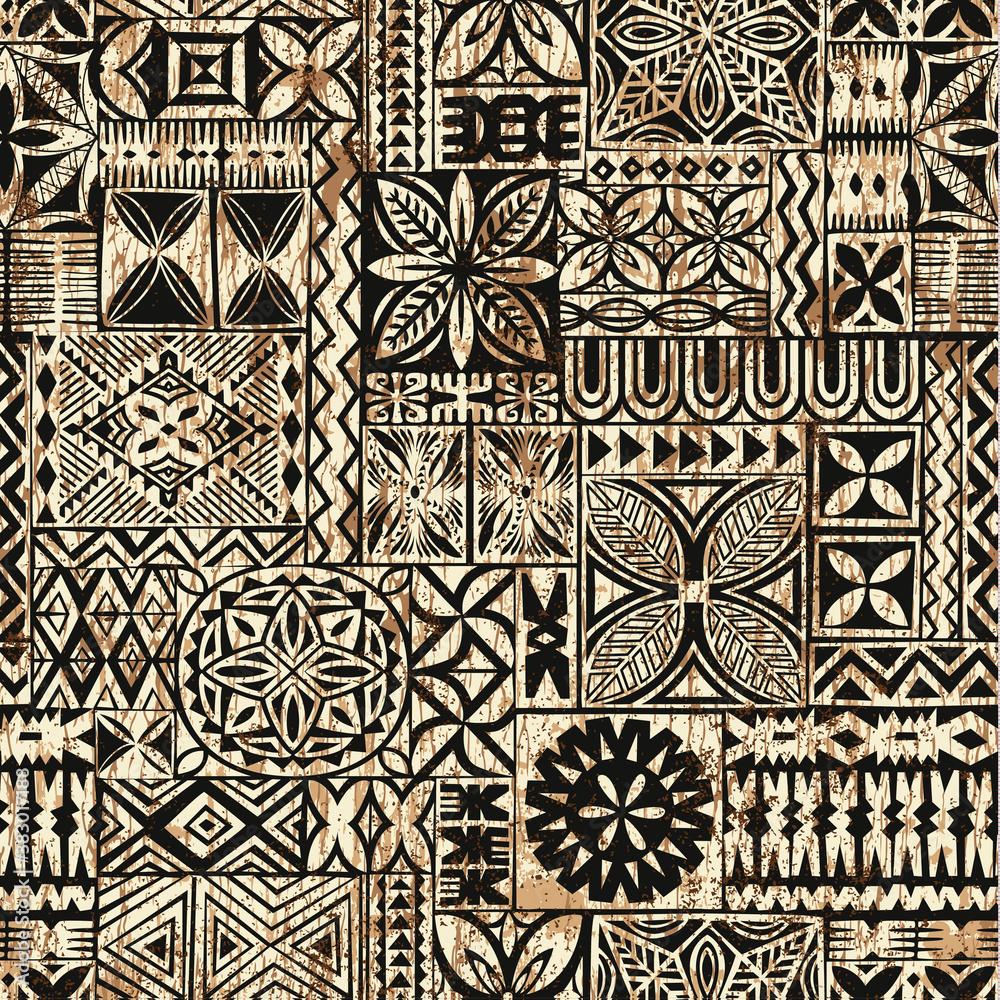 Fototapeta Hawaiian style tapa cloth motifs tribal fabric vintage vector seamless pattern