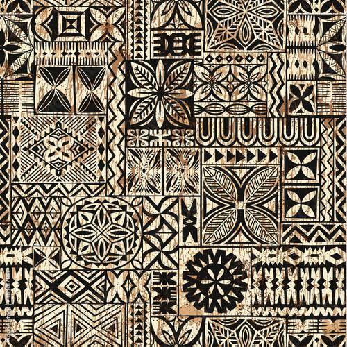 Fotografie, Obraz Hawaiian style tapa cloth motifs tribal fabric vintage vector seamless pattern