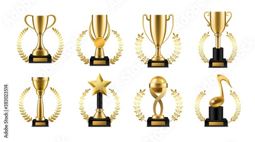 Trophy cup with golden laurel. Realistic gold sports or music winner awards, victory goblet with wreath collection for winners on award ceremony, symbol of leadership and success vector set