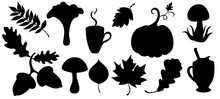 Set Of Autumn Silhouettes With...
