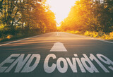 """The empty road in the forest and the text on the asphalt """"end covid19""""."""