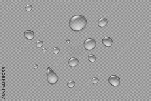Fototapeta Water rain drop set isolated on transparent background