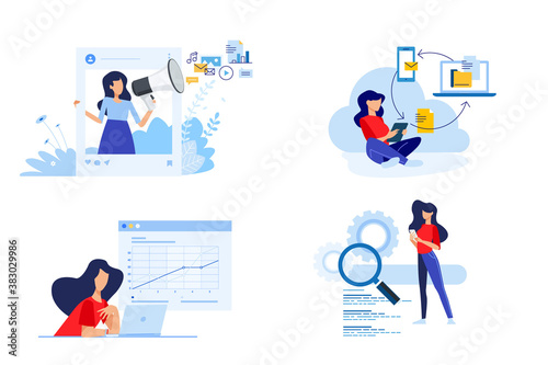 Set of people concept illustrations. Vector illustrations of social media, digital marketing, cloud computing, busines analysis, seo.