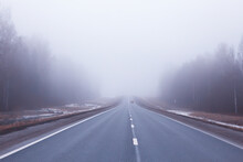Road In Fog Concept, Mist In O...