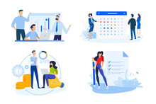 Set Of People Concept Illustrations. Vector Illustrations Of Business App, Consulting, Event, Crowdfunding, To Do List