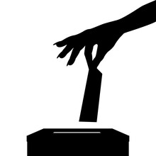 Silhouette Of Voter Woman Putt...