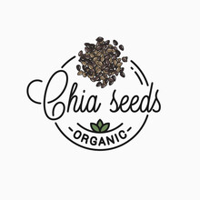 Chia Seeds Logo. Round Linear Of Chia Superfood