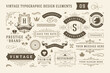 Vintage typographic design elements set vector illustration.