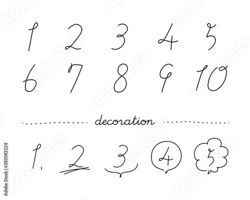 Fotografie, Obraz 手書きのおしゃれな数字のイラストのセット/おしゃれ/番号/数/フォント/カリグラフィー/筆記体
