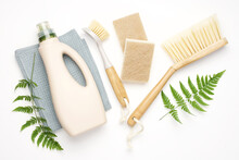 Eco Brushes, Sponges And Rag On White Background. Flat Lay Eco Cleaning Products. Cleaner Concept