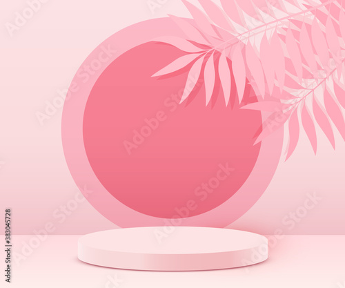 Abstract scene background. Cylinder podium on pink background with leaves. Product presentation, mock up, show cosmetic product, Podium, stage pedestal or platform.