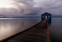 Blue Boat Shed On A Rainy Morning On The Swan River In Perth, Western Australia