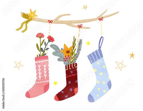 Obraz na plátně クリスマスの靴下 手描きイラスト