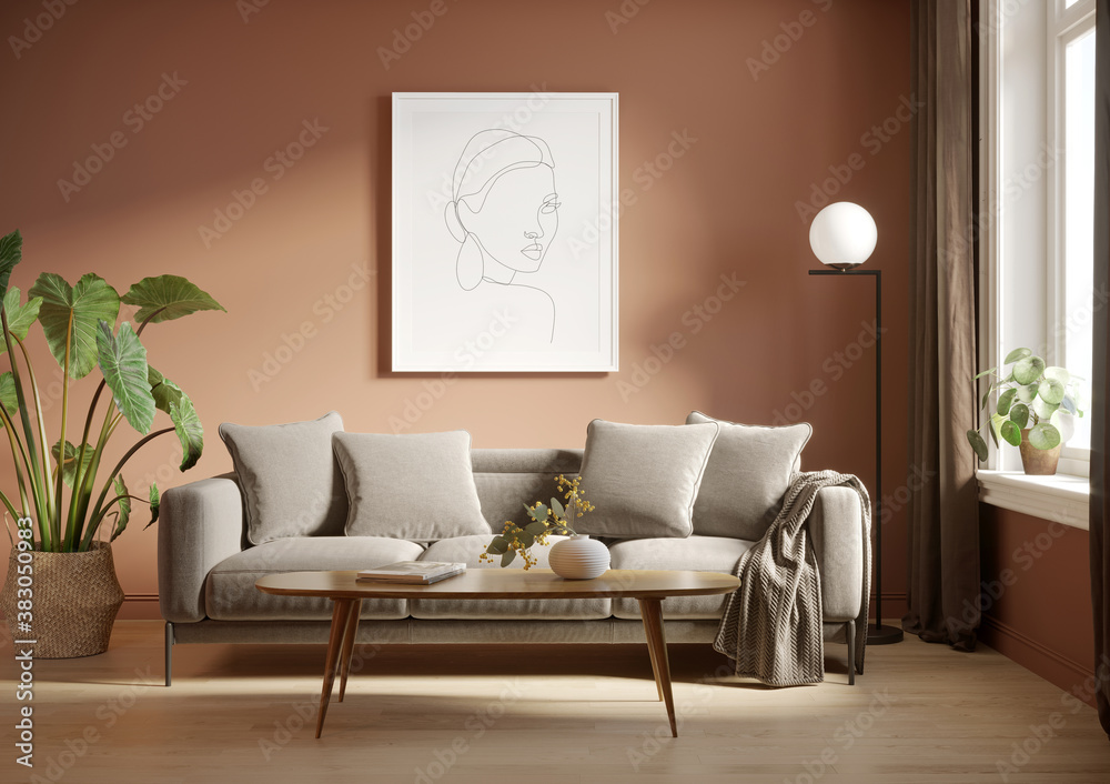 3d render of a grungy pale red room with a grey sofa an art canvas and many plants and flowers
