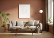 Leinwandbild Motiv 3d render of a grungy pale red room with a grey sofa an art canvas and many plants and flowers