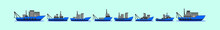 Set Of Boat Cartoon Icon Design Template With Various Models. Vector Illustration Isolated On Blue Background