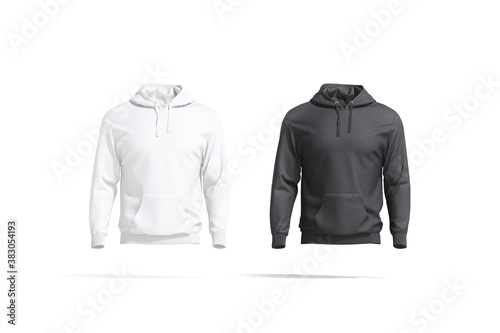 Blank black and white sport hoodie with hood mockup set
