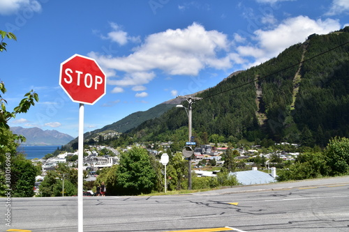 The view of mountains with road in Queenstown, New Zealand Wallpaper Mural