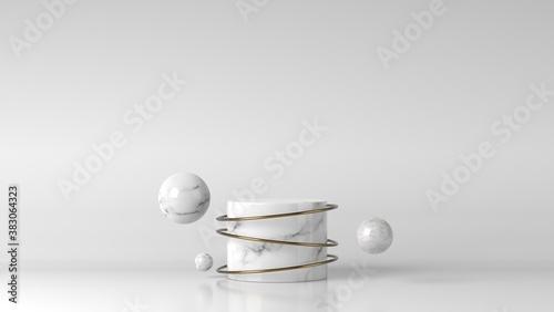 Photo Luxury white marble showcase podium in background