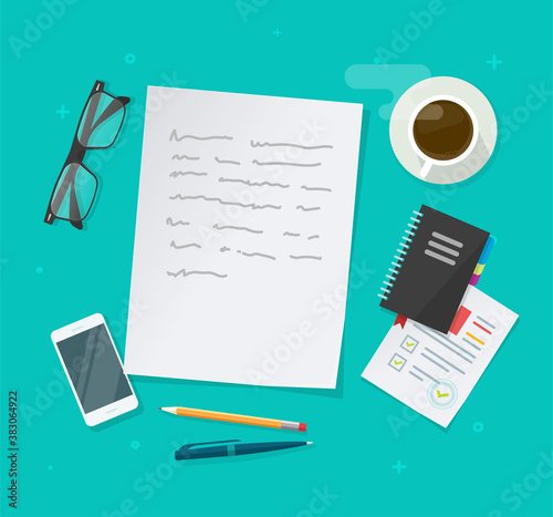 Writing creating text content vector on education working desk table above, essay document, journalism research workplace flat lay, author or editor desktop with glasses, pen, coffee cup
