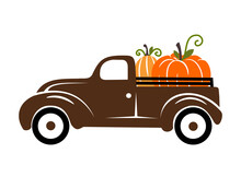 Pumpkins On A Truck Vector Illustration, Fall , Seasonal Art