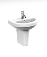 White Wash Basin With Faucet, Siphon And Waste Set Isolated On White - 3d Render
