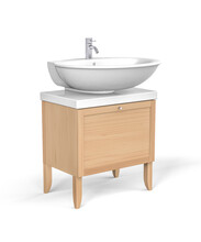 White Wash Basin With Tap Mounted On Wooden Cabinet - Isolated On White - 3d Render