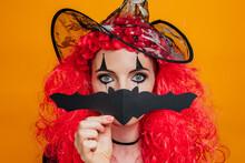 Clown Girl In Halloween Costum...