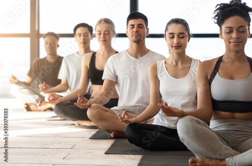 Fototapeta Group Meditation. Sporty Multiracial Men And Women Meditating Together During Yoga Class obraz
