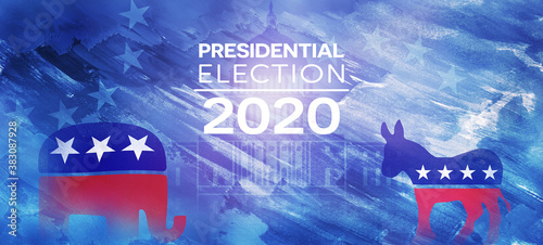 US Presidential Election. USA election banner with US symbols and colors. Patriotic stars. Elephant and donkey. United States of America Election design.